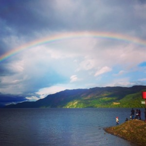 Rainbow over Loch Ness at the finish of Day One